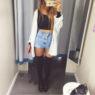 cardigan blonde ombr? highwaisted denim shorts high waisted shorts crop tops highsocks shirt shorts