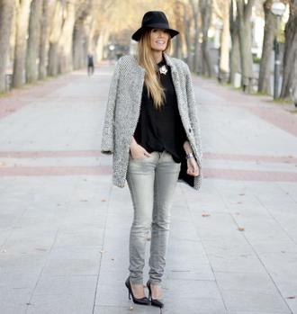 rebel attitude blogger jeans grey coat grey jeans