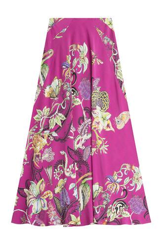 skirt silk purple