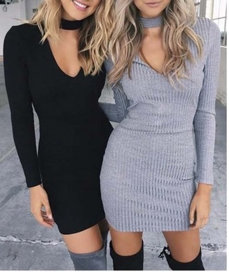 dress girl girly girly wishlist bodycon bodycon dress mini dress knit grey black long sleeves long sleeve dress matching set