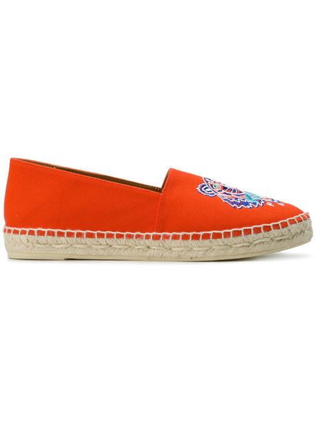 Kenzo women tiger espadrilles leather yellow orange shoes