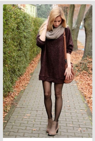 sweater sweater dress oversized sweater red burgundy maroon/burgundy fancy cozy cozy sweater red dress winter dress sexy dress girly blood dress shoes tights bag scarf ankle boots brown no pants