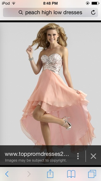 dress peach high low