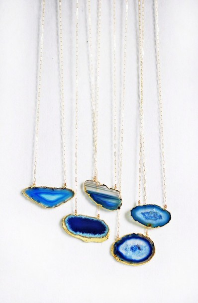 jewels necklace blue rock stone jewelry long gold