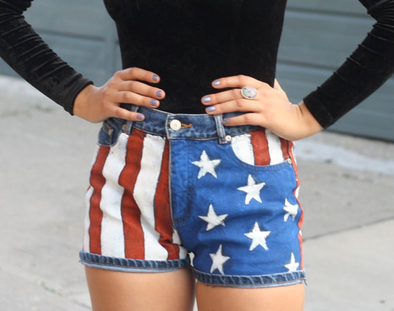 Hand painted american flag jean shorts by naughtymess on etsy