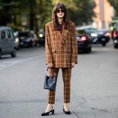jacket,oversized jacket,check blazer,checkered pants,mid heel pumps,printed shirt,handbag,sunglasses