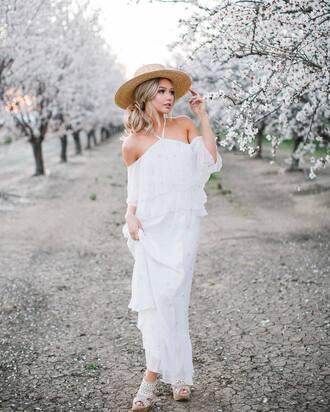 dress hat tumblr maxi dress cold shoulder off the shoulder off the shoulder dress white dress white long dress long dress sun hat sandals sandal heels high heel sandals
