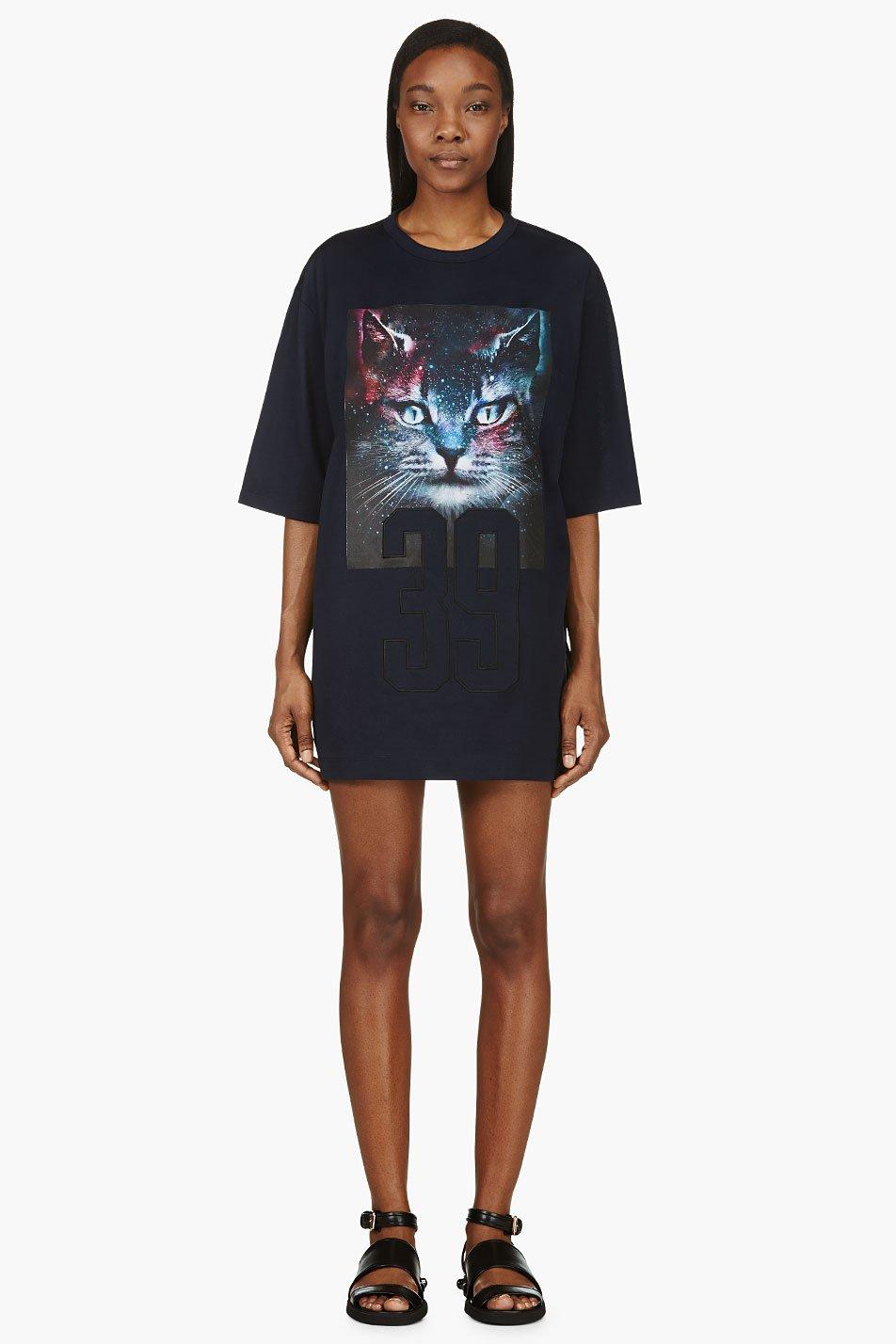 Juun.j ssense exclusive blue and purple cosmic cat t_shirt
