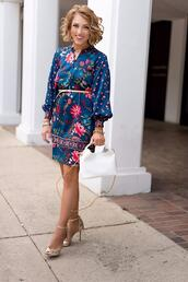 something delightful,blogger,dress,bag,shoes,jewels,belt,high heels,spring outfits,floral dress,handbag,blue dress