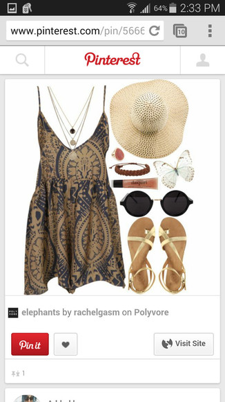 printed dress necklace sunglasses sandals sunhat