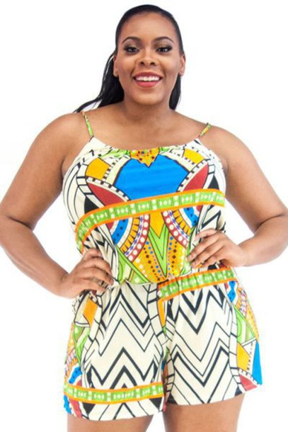 Romper Summer Tribal Pattern Plus Size Plus Size Dress Wheretoget