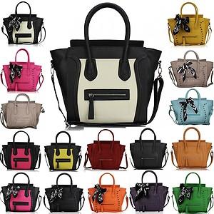 Ladies Designer Leather Style Tote Satchel Smile Skull Scarf Bag ...