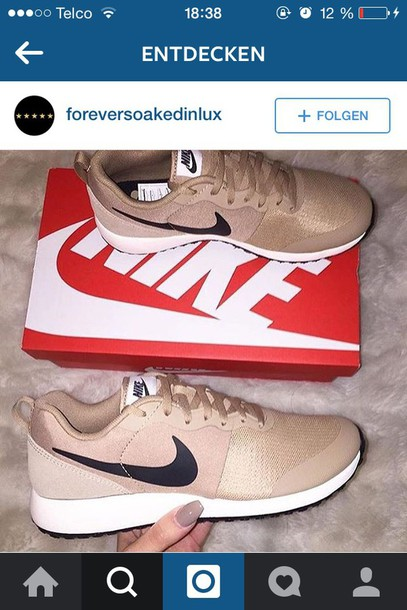 more photos 785be bcee7 shoes nike nikes beige camel sneakers nike sneakers creme nike tan adidas  outfit instagram make-