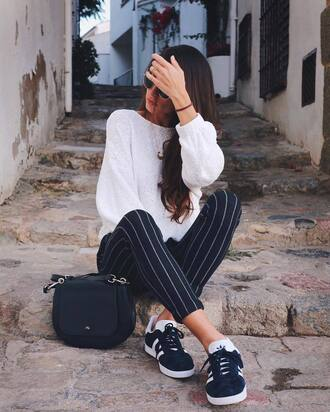 pants tumblr cropped pants stripes striped pants top white top sneakers blue sneakers adidas adidas originals adidas shoes bag black bag back to school fall outfits