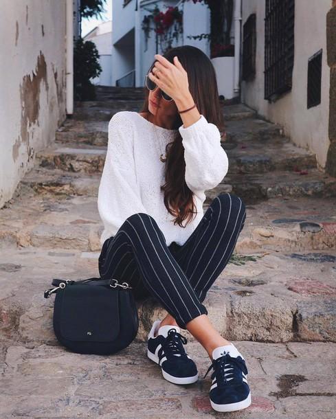 79dca34b6d8c pants tumblr cropped pants stripes striped pants top white top sneakers  blue sneakers adidas adidas originals