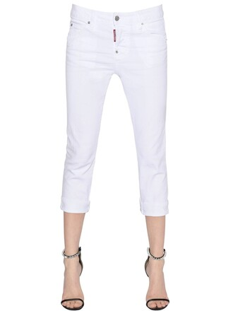 jeans denim girl cool cropped cotton white