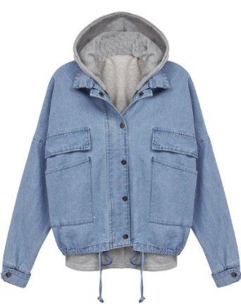Amazon.com: Sheinside Blue Hooded Long Sleeve Drawstring Denim Outerwear: Clothing