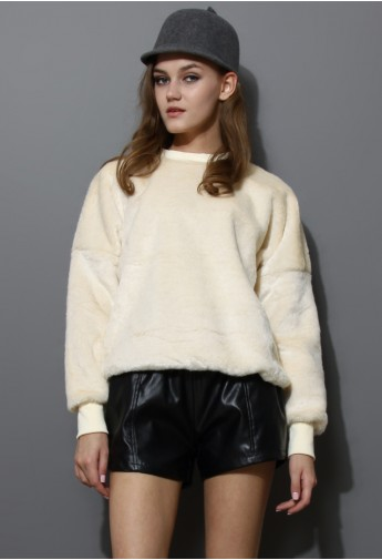 Beige Faux Fur Sweat Top - Retro, Indie and Unique Fashion