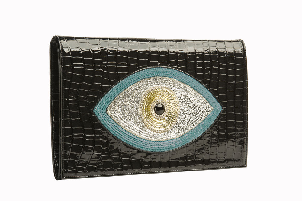 New Serena by Sunita Mukhi Embellished Evil Eye Envelope Clutch Croc Leather | eBay