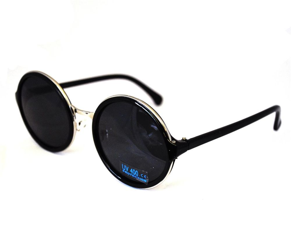 Vtg style round lens metal trim black sunglasses steampunk retro glasses