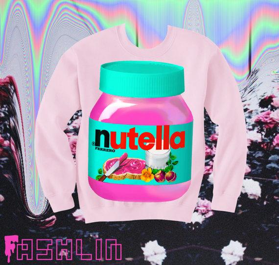 UNISEX Pink Nutella Neon Fluorescent Pastel Goth Sweatshirt // Pink // fASHLIN ($50.00)