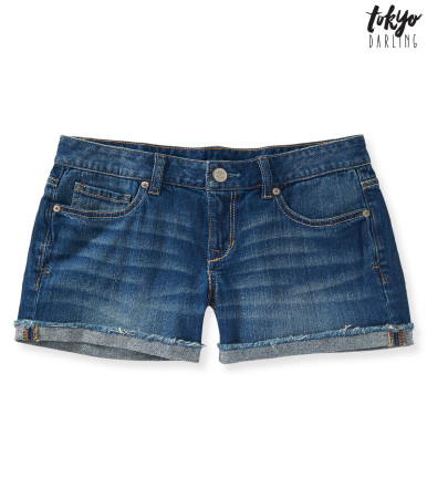 Medium wash denim midi shorts