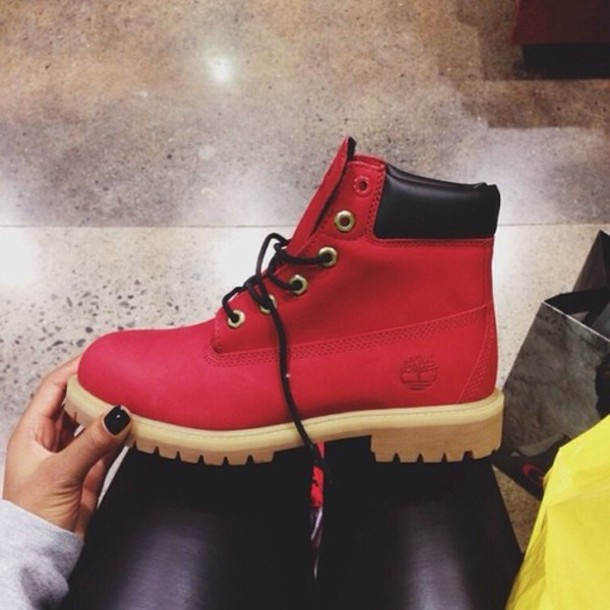 Shoes: red timberlands, timberlands - Wheretoget