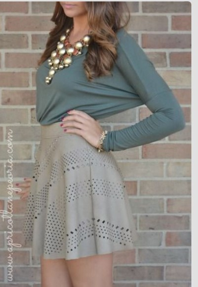 necklace blouse skirt