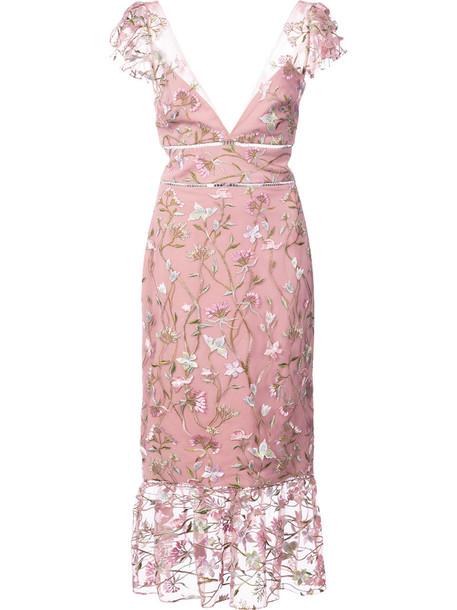 dress midi dress embroidered women midi floral purple pink