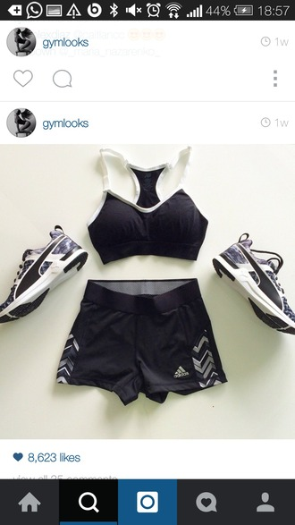 shoes black top black crop top sportswear sports bra sports pants sports top sport short sport bra sport shoes sport leggings sports shirt sporty fitness fitness shorts fitness pants adidas nike black and white sports shorts
