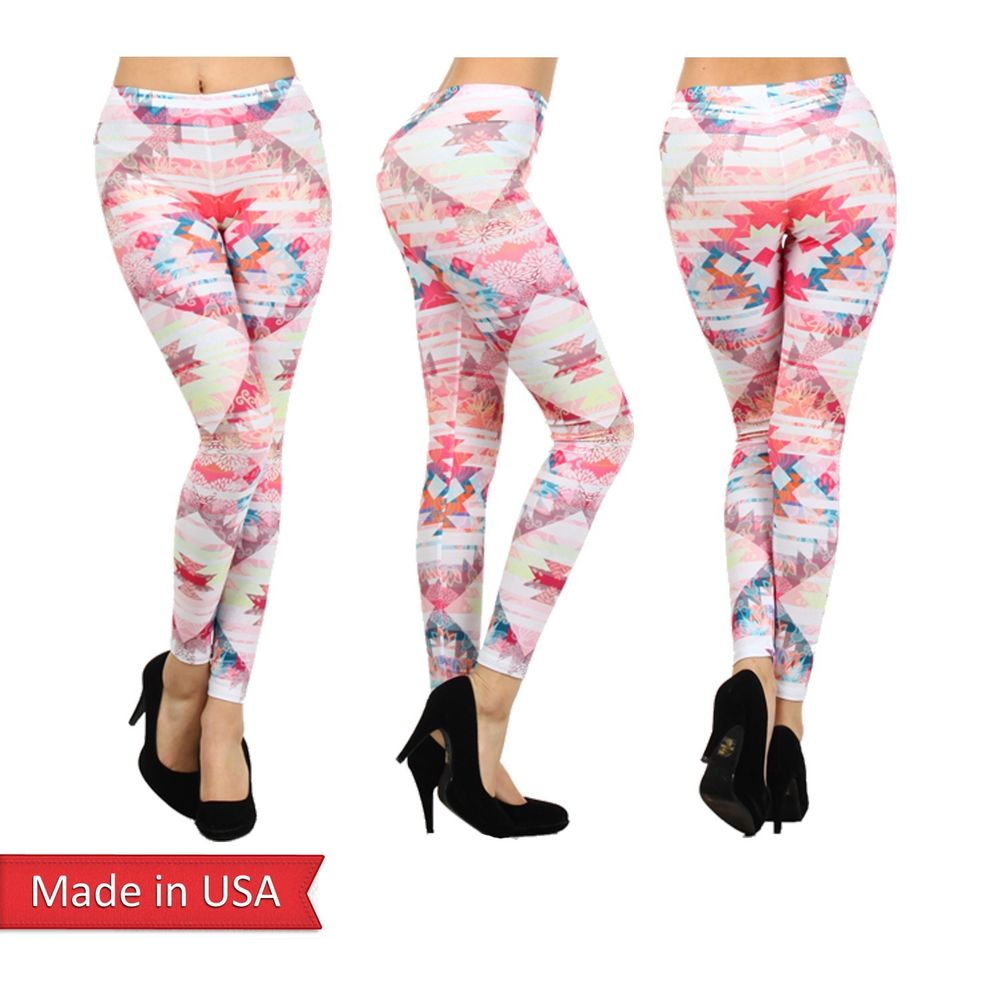 Girly chic pink pastel aztec floral stripe color print leggings tight pants usa