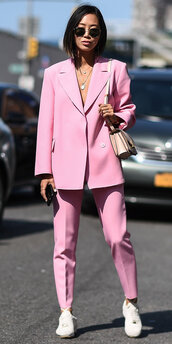 pants,pink,aimee song,nyfw 2017,ny fashion week 2017,streetstyle,blazer,suit,blogger,jacket