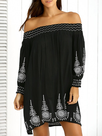 dress off the shoulder black dress black boho summer festival trendy black and white long sleeves zaful