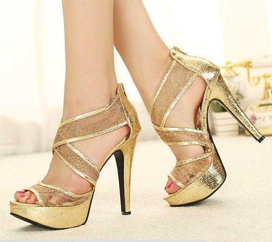Glitter Lace Stripe Gorgeous Wedding Bridal Shoes Platform Sandals High Heels | eBay