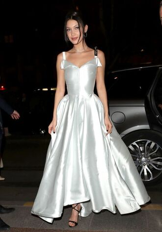dress gown prom dress wedding dress bella hadid model sandals white white dress satin dress dior paris fashion week 2017 fashion week 2017