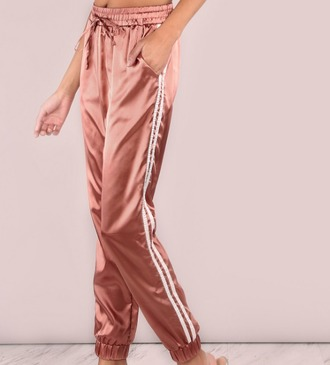 pants girl girly girly wishlist joggers joggers pants pink satin white