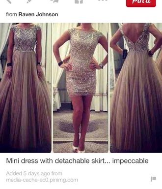 dress baige prom dress detachable skirt elegant dress sparkle dress sparkle dress prom short sequin sequin dress