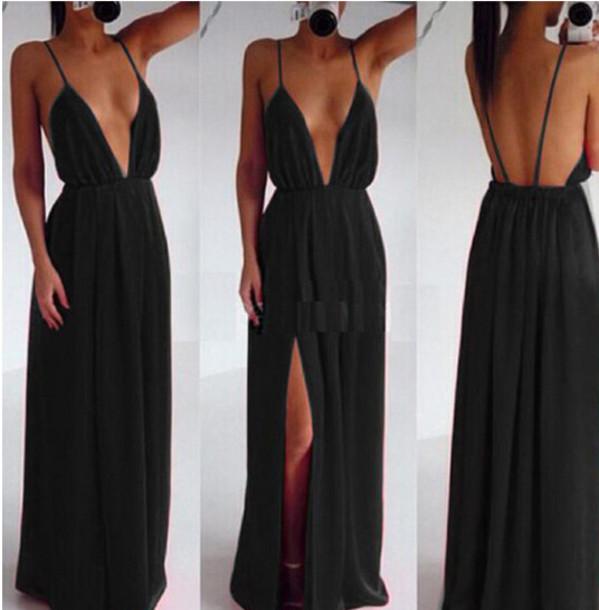 black dress sexy dress maxi dress slit dress prom dress