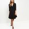 Black ruffle trim wrap front dress
