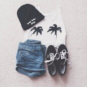 hat,shoes,t-shirt,shorts,style,tank top,palm tree print,white,summer,shirt,blouse,skirt,vans,top,black,white shirt,black and white t-shirt,black hat,beanie,bennie,black vans,summer top,for bad hair days