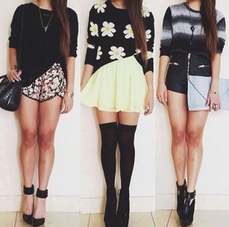 shirt flowers sweater pants heels white style skirt black heels shorts shoes