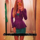 dress,purple dress,green dress,jacket