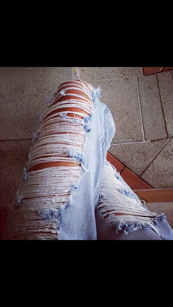 jeans light blue denim frayed ripped ripped knee jeans summer pants summer baby blue white cut-out exposed