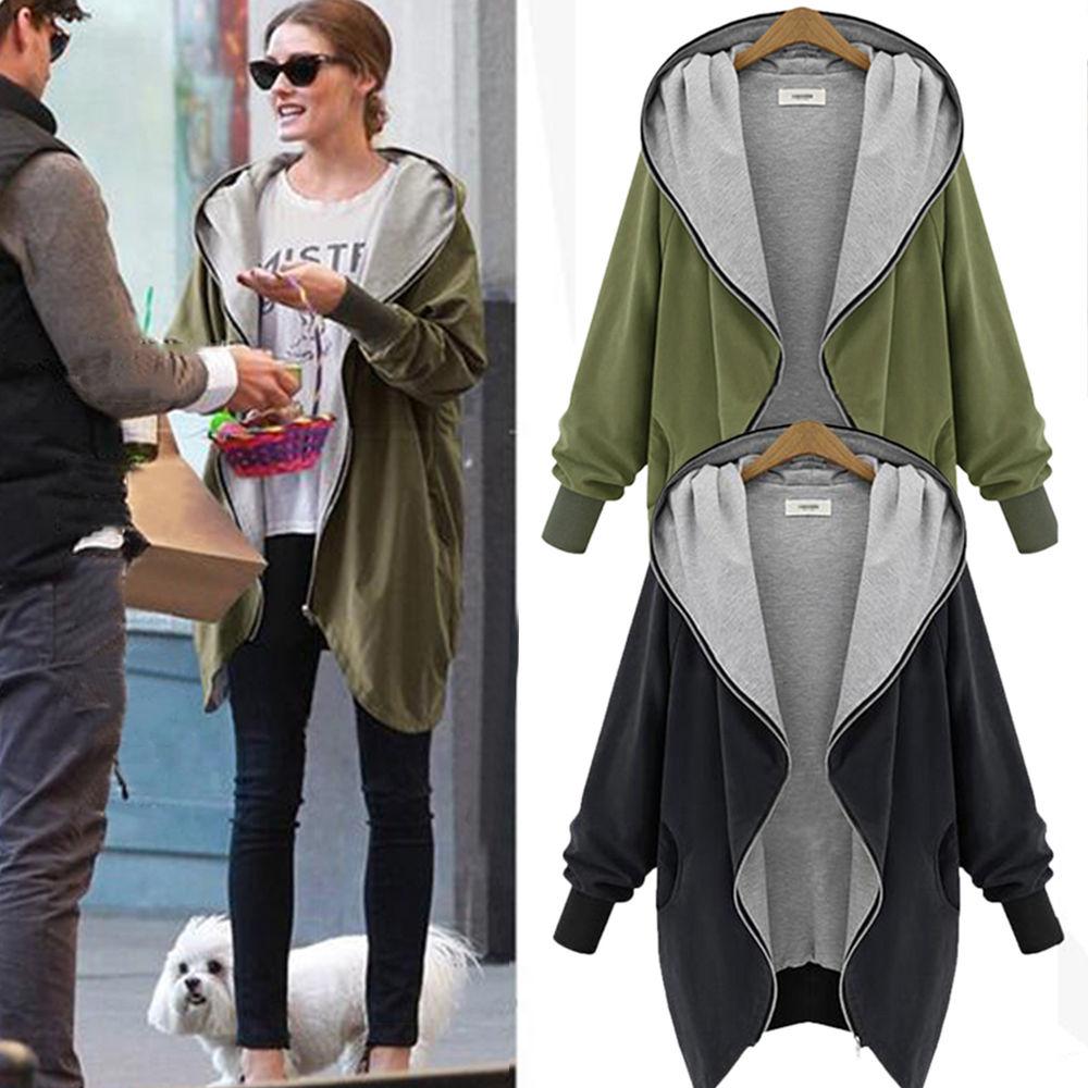 Ladies Casual Jacket Long Sleeve Hoodie Coat Top Hooded Jumper ...
