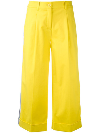 cropped women spandex cotton yellow orange pants