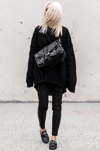 sweater black sweater pants leather pants black shoes tumblr knit knitted sweater oversized sweater oversized black pants shoes