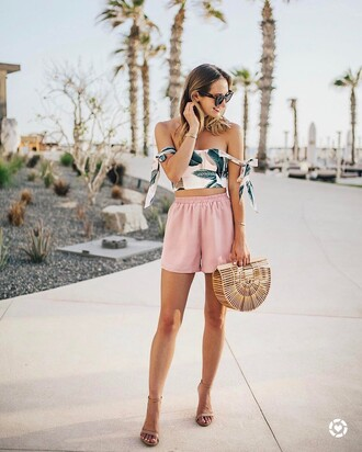 top shorts pink shorts tumblr off the shoulder off the shoulder top crop tops bag basket bag sandals sandal heels high heel sandals sunglasses shoes