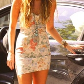 dress,flowers,floral,floral dress,mini dress,bodycon dress,jewels,miley cyrus,summer dress