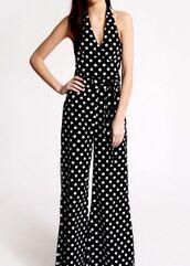jumpsuit,deep v,polka dots