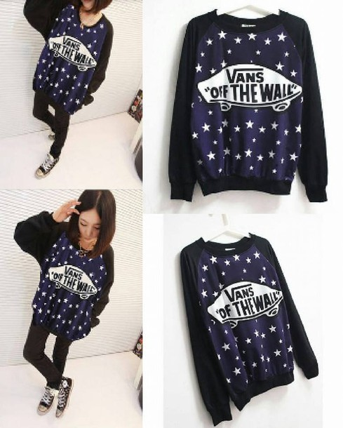 sweater vans black blue stars skateboard white